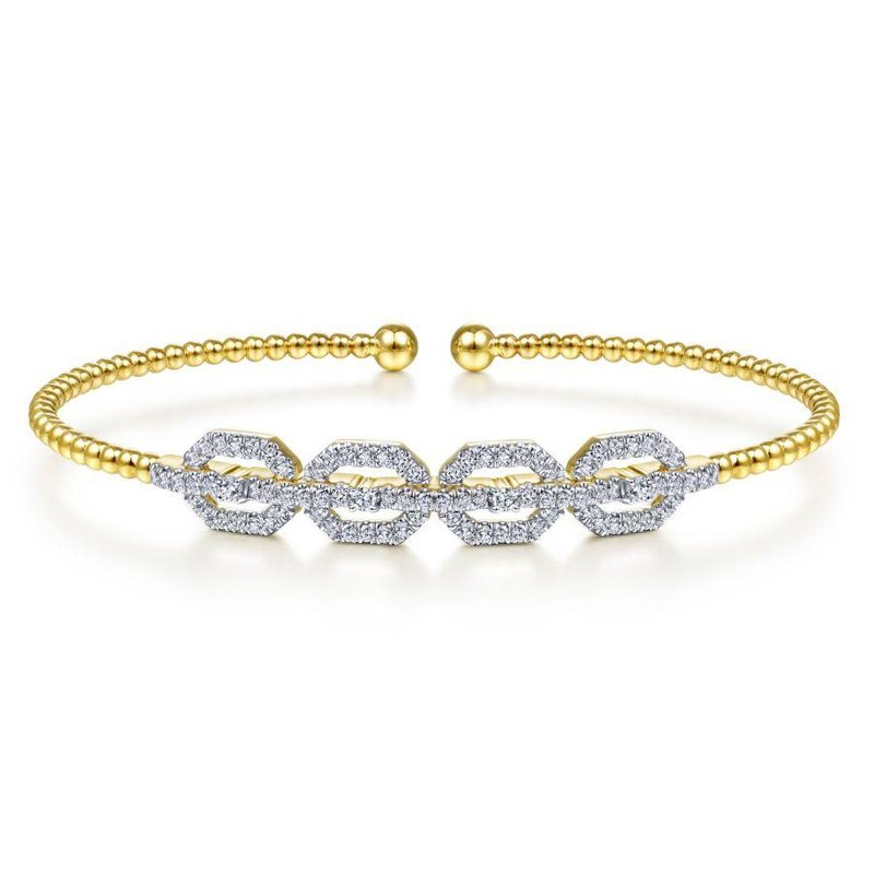 Gabriel Fashion 14K Yellow Gold Bujukan Bead Cuff Bracelet with Diamond Pavé Links