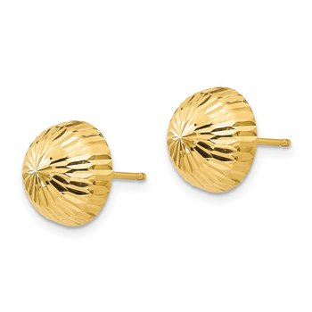 14k Madi K Polished & Diamond-Cut 10mm Button Post Earrings