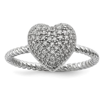 Sterling Silver Rhodium-plated CZ Heart Ring