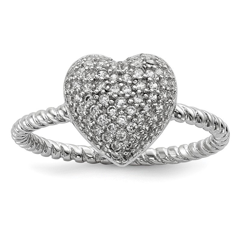 Quality Gold Sterling Silver Rhodium-plated CZ Heart Ring