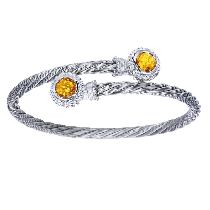 Gabriel Fashion 925 Silver & Stainless Steel Citrine Bangle