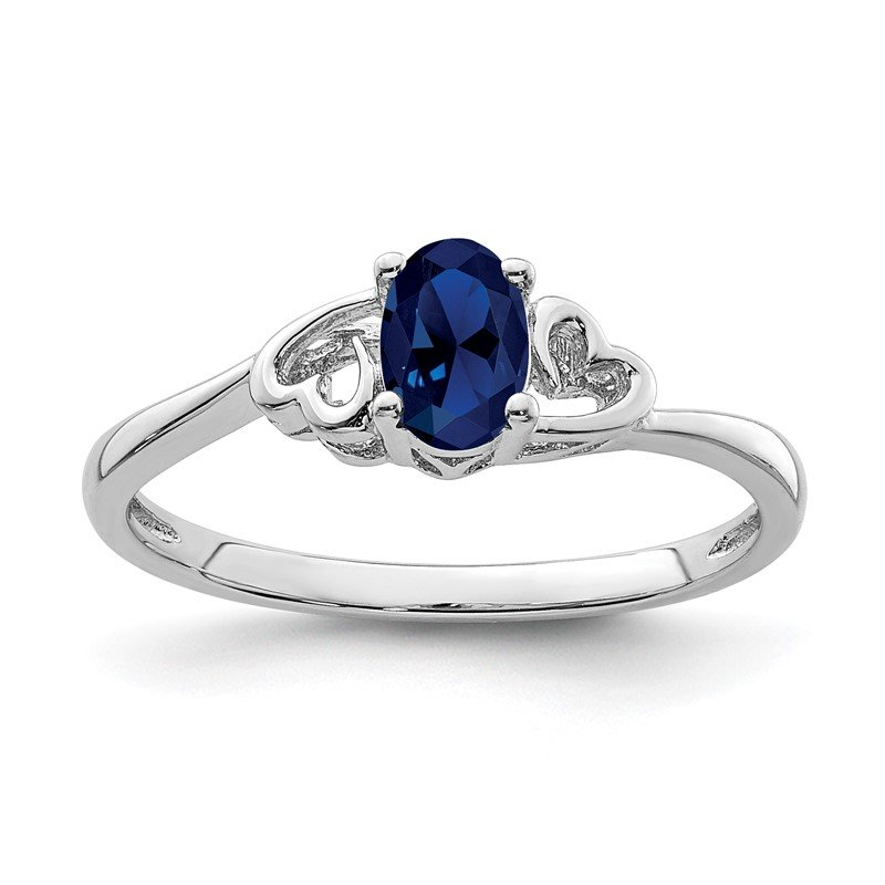Quality Gold Sterling Silver Rhodium-plated Created Sapphire Ring