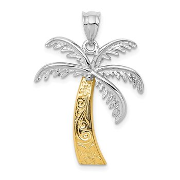 14k Two-tone Palm Tree Pendant