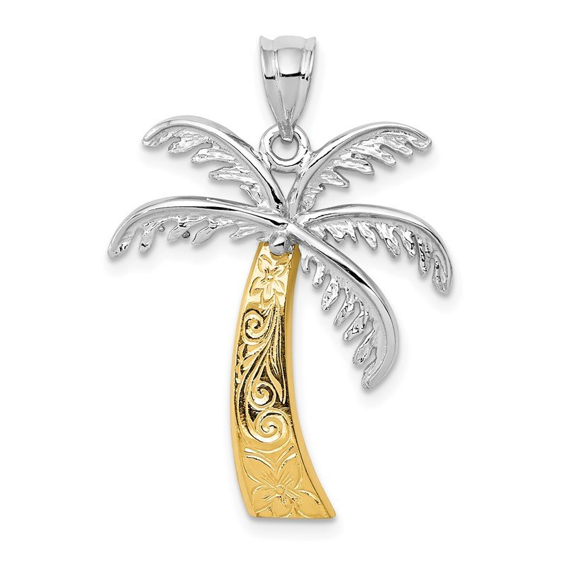 Quality Gold 14k Two-tone Palm Tree Pendant