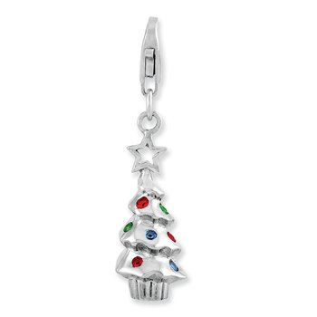 Sterling Silver Rhodium plated Multi Glass Stone Tree w/Lobster Clasp Charm