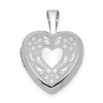 Sterling Silver Rhodium-plated Floral Heart Wings 12mm Heart Locket