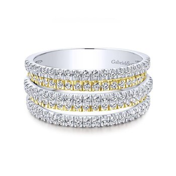 14K Yellow/White Gold Layered Wide Band Ring