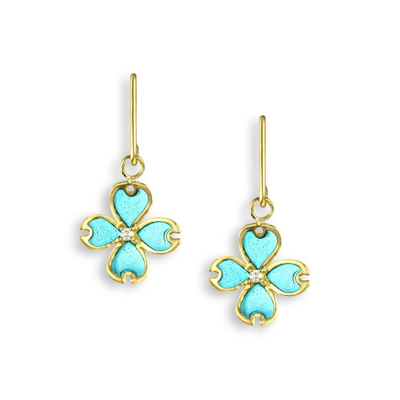Nicole Barr Designs Turquoise Dogwood Wire Earrings.18K -Diamonds - Plique-a-Jour