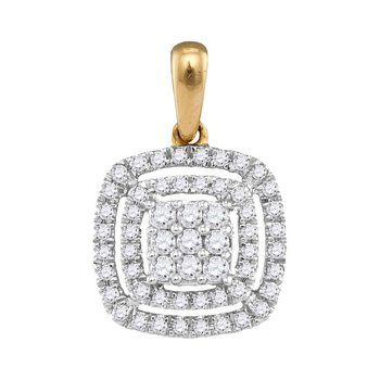 14kt Yellow Gold Womens Round Diamond Concentric Square Cluster Pendant 1/3 Cttw