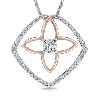 Diamond Pendant in 14K White/Rose Gold (.20 ct. tw.)