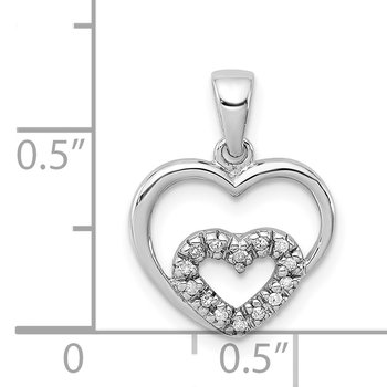 Sterling Silver Diamond Rhodium Heart Pendant