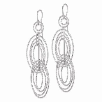 Sterling Silver Rhodium Plated D/C Ovals Dangle Earrings