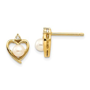 14k FW Cultured Pearl and Diamond Heart Earrings