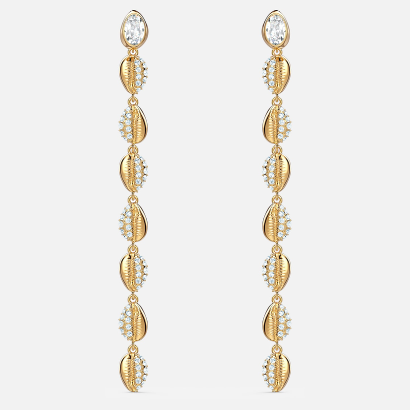 Swarovski Shell Cowrie Pierced Earrings, White, Gold-tone plated