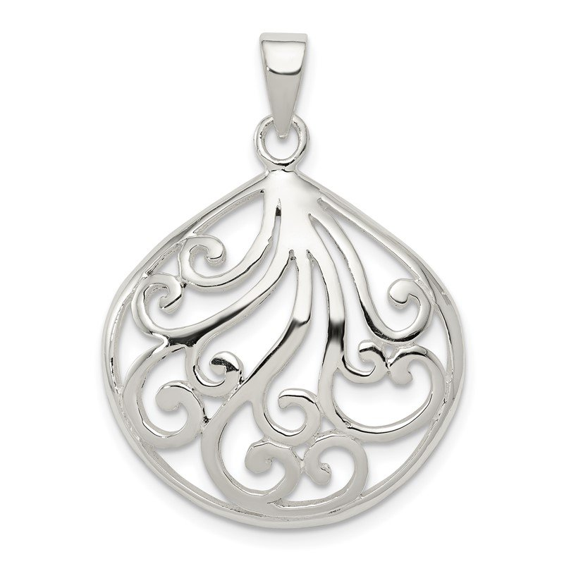 Quality Gold Sterling Silver Swirl Pendant