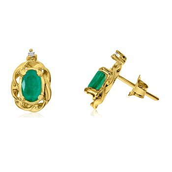 14k Yellow Gold Emerald Scroll Diamond Earrings