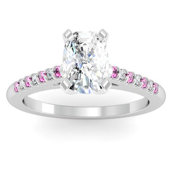 Cathedral Channel set Pink Sapphire & Diamond Engagement Ring
