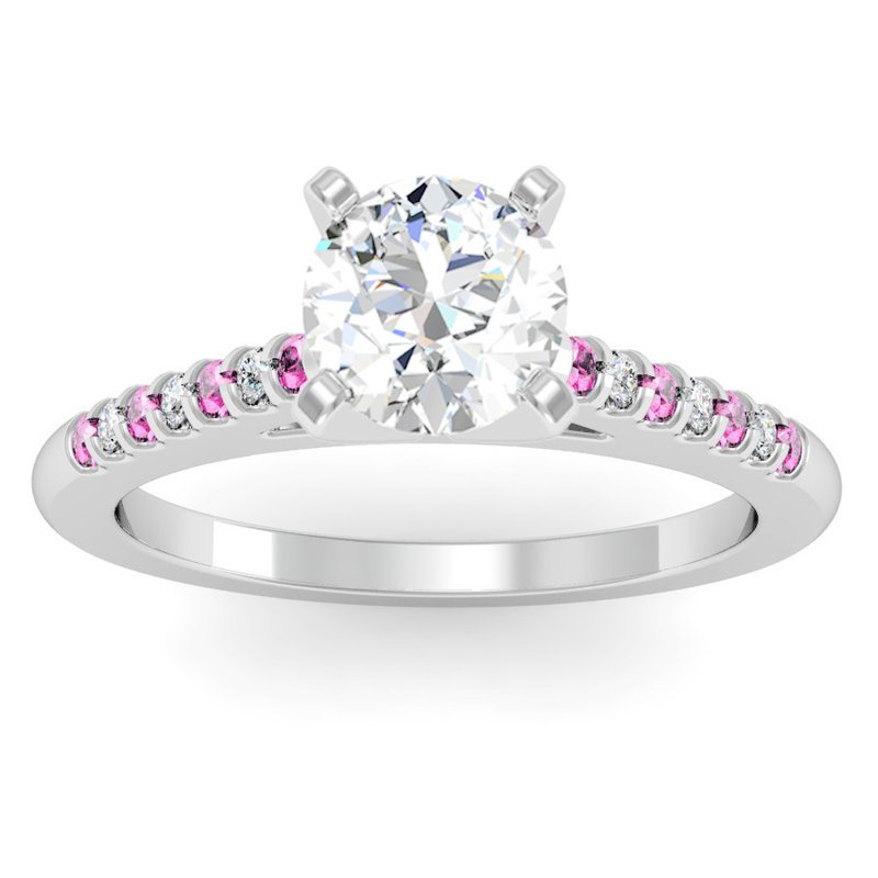 J.F. Kruse Signature Collection Cathedral Channel set Pink Sapphire & Diamond Engagement Ring