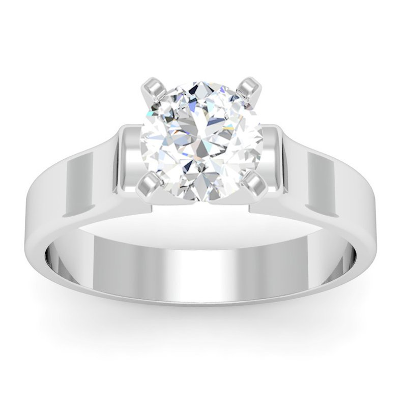 FM Lazer Diamonds Contour Solitaire Engagement Ring