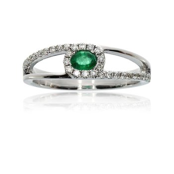 14k White Gold Side Split Emerald and Diamond Ring