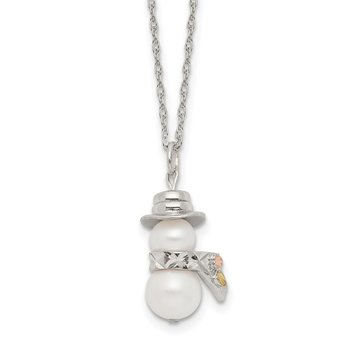 Sterling Silver & 12k Snowman Simulated Pearl Necklace