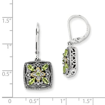 Sterling Silver w/14k Diamond & Peridot Earrings