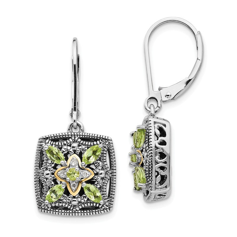 Shey Couture Sterling Silver w/14k Diamond & Peridot Earrings