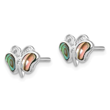 Sterling Silver Rhodium-plated Abalone Pearl Butterfly Post Earrings