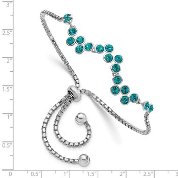Sterling Silver Rhodium-plated Blue Zircon Adjustable Bracelet