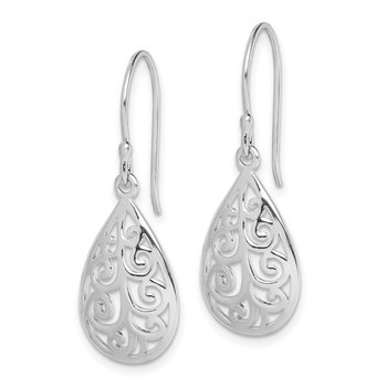Sterling Silver Rhodium-plated Filigree Teardrop Dangle Earrings