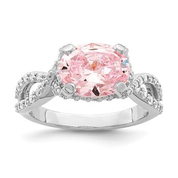 Sterling Silver Rhodium-plated Pink 10x8 Oval CZ Ring