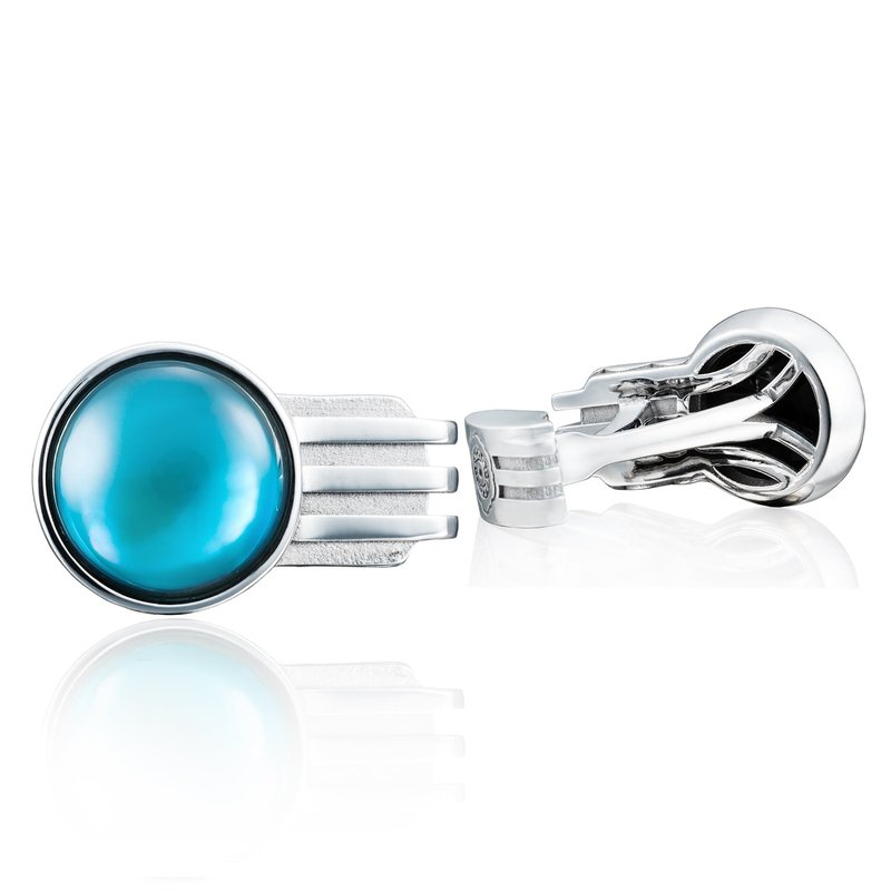 Tacori Fashion Gemstone Racing Cuff Links featuring Sky Blue Topaz over Mother of Pearl