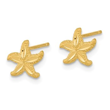 14k Satin Diamond-cut Starfish Post Earrings