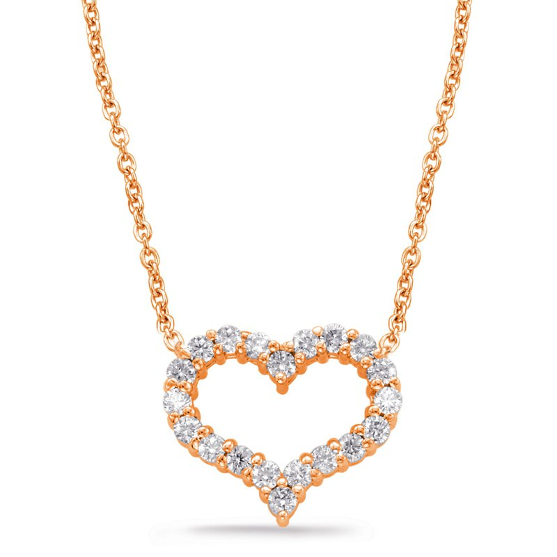 S. Kashi  & Sons Rose Gold Diamond Heart Necklace