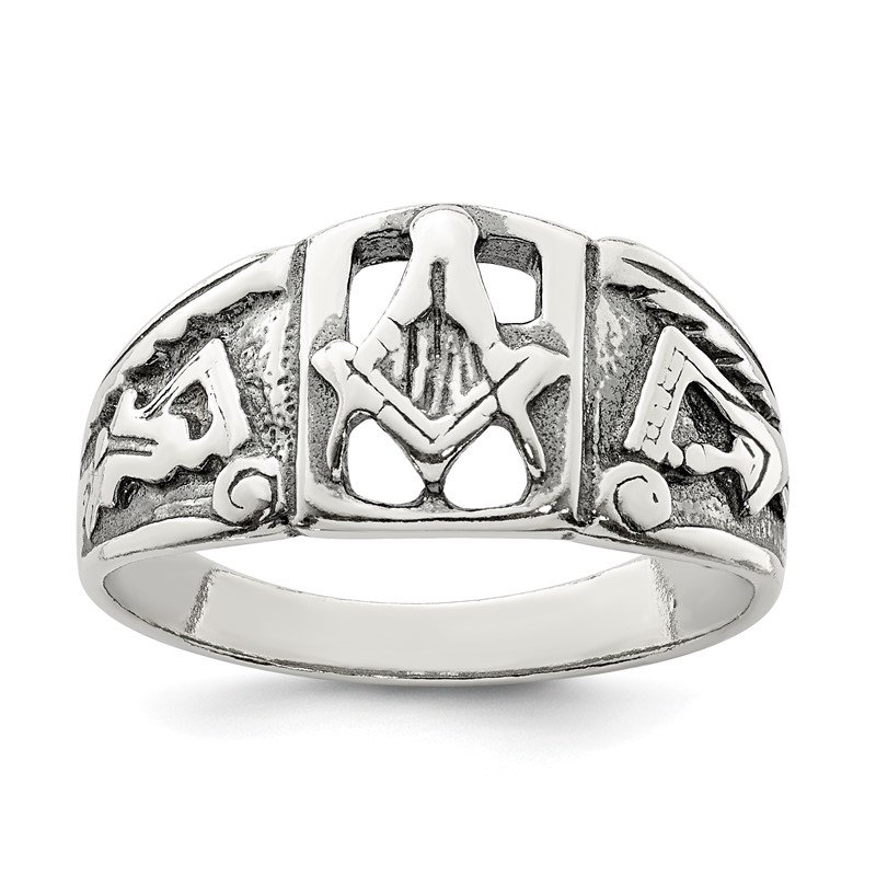 Quality Gold Sterling Silver Antiqued Masonic Ring