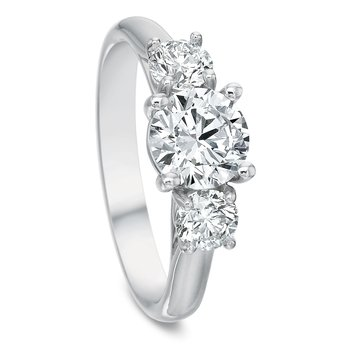 18K white gold 3 stone semi mount for 1.25 round center