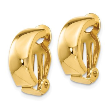 14k Non-Pierced Polished Earrings