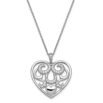 Sterling Silver CZ Antiqued I Am With You 18in. Necklace