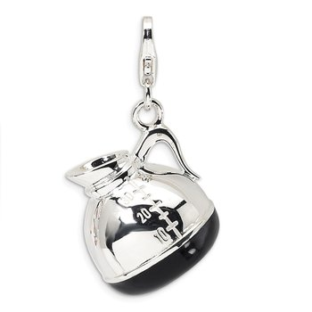 Sterling Silver 3-D Enameled Coffee Pot w/Lobster Clasp Charm