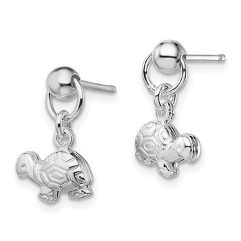 Sterling Silver Polished Turtle Dangle Post Earrings