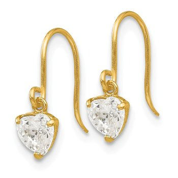 14k Madi K CZ Children's Heart Dangle Earrings