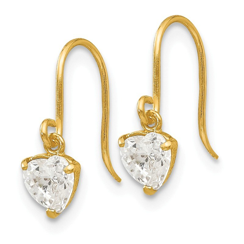 Quality Gold 14k Madi K CZ Children's Heart Dangle Earrings