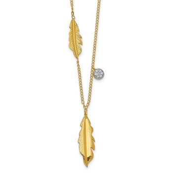 14k Diamond and Feathers 16.5 inch Necklace