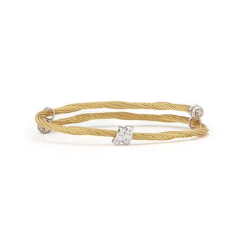 Yellow Cable Flex Size Bracelet with Square Diamond Station set in 18kt White Gold