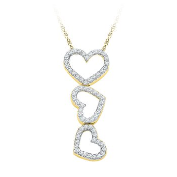 10kt Yellow Gold Womens Round Diamond Triple Cascading Heart Outline Pendant 1/5 Cttw