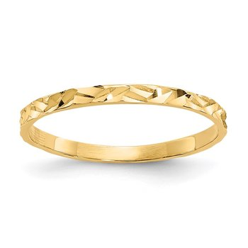 14K Diamond-cut Zig-Zag Design Band Childs Ring