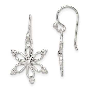 Sterling Silver Snowflake Shepherd Hook Dangle Earrings