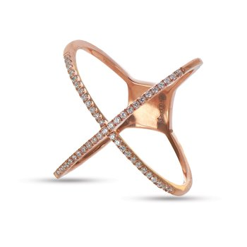 14K RG Diamond X Design Fashion Ring