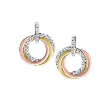 14K Triple Circle Diamond Earrings