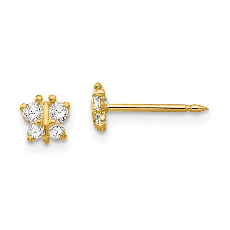Quality Gold Inverness 14k Butterfly CZ Earrings